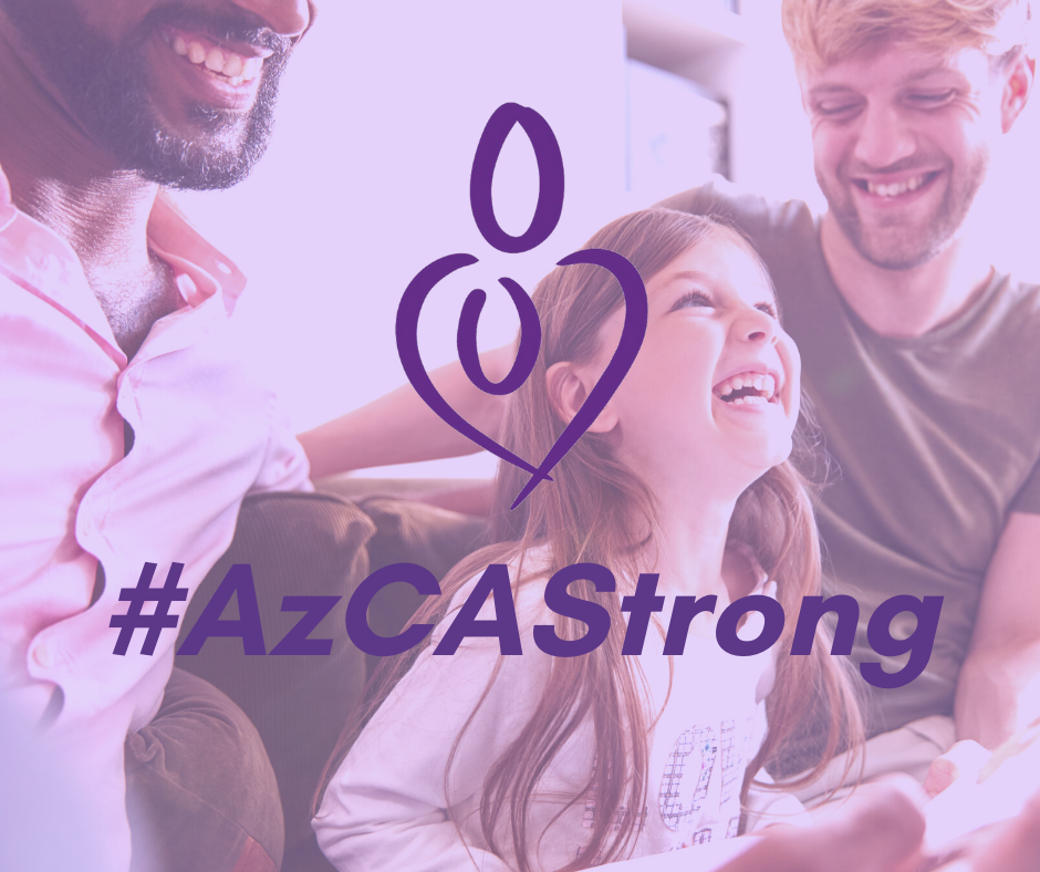 Family with #AzCAStrong text and AzCA Simple Character Logo